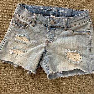 Girls Jean shorts cut off & lace Cat & Jack Sz 7/8